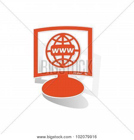 Global network monitorsticker, orange