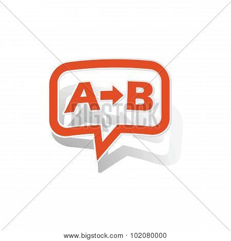 A-B logic message sticker, orange