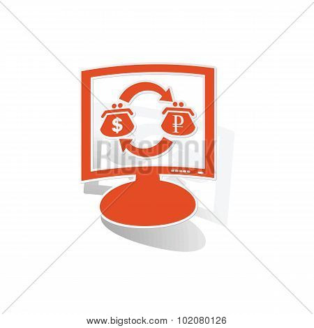 Dollar-rouble trade monitor sticker, orange