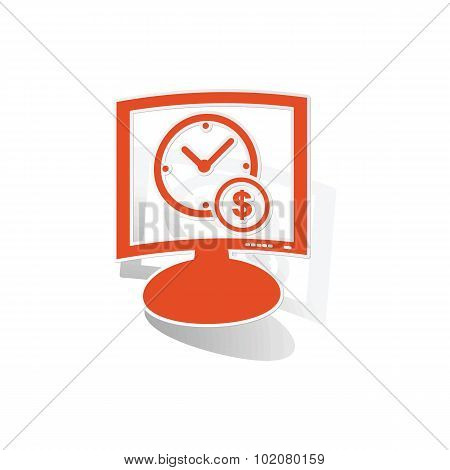 Money time monitor sticker, orange