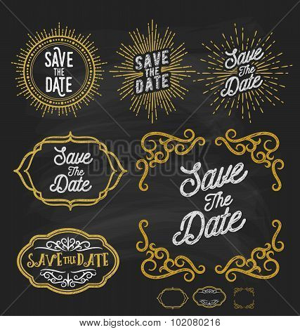Save The Date Frame Border Chalkboard Style.