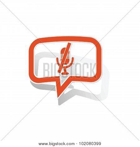 Muted microphone message sticker, orange