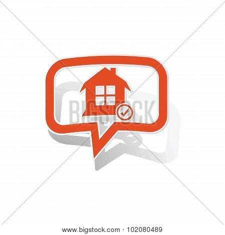 Select house message sticker, orange