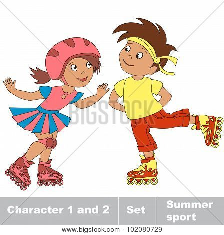 Two young baby boy and girl skating on roller skates.