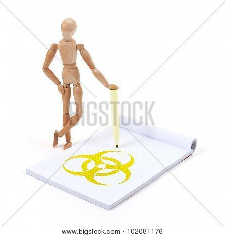 Wooden Mannequin Writing - Biohazard