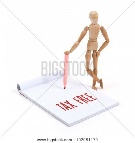 Wooden Mannequin Writing - Tax Free