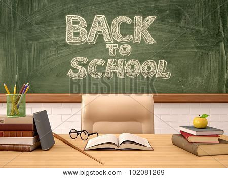 3D Illustration Of The Teacher's Desk In The Background Of The Boards Back To School