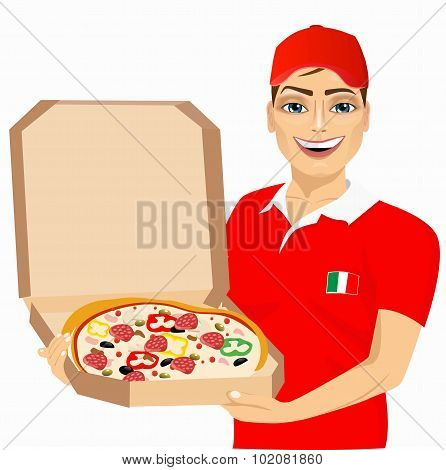 pizza delivery courier in red uniform