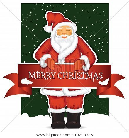 Santa Claus with christmas banner