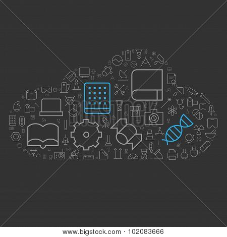 Icons For Science, Technology And Industrial In Cloud Shape