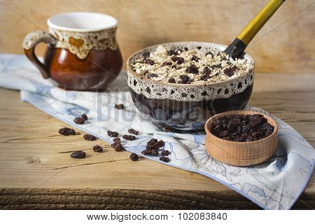 Oatmeal With Raisins.  Delicious Breakfast.