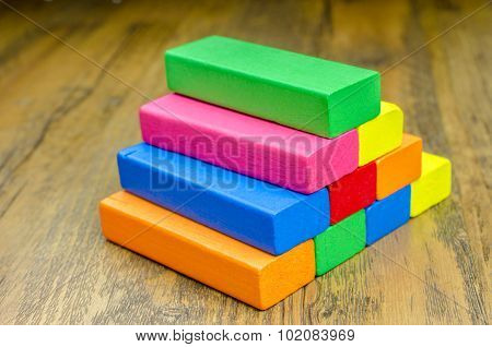 Colorful wooden blocks game for children