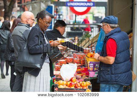 LONDON, UK - SEPTEMBER 17, 2015: Vegetables and fruit's stall near the Holborn tube station in Londo