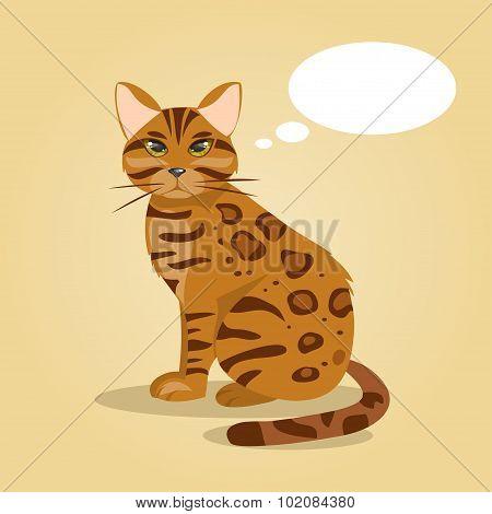 Cartoon Cat Thinks. Vector Illustration