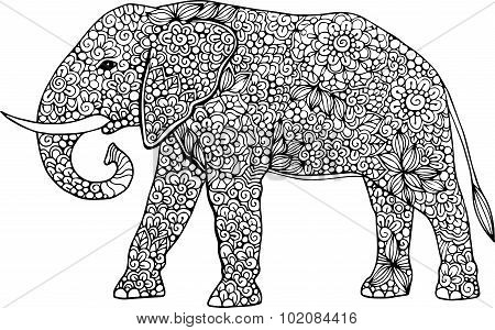 Hand drawn doodle ornamental elephant illustration decorated with abstract doodle zentangle ornament