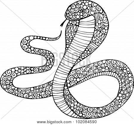 Hand drawn decorative cobra snake illustration with doodle ornaments
