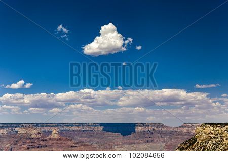 View From Maricopa Point To The Grand Canyon, Shadow Of Clouds On The Rock Face
