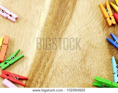 colorful wooden clothespins