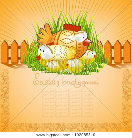 cartoon easter background with chicken cock and chick in grass near fance