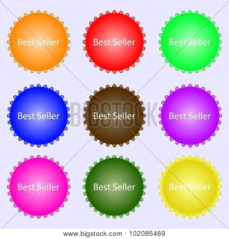 Best Seller Sign Icon. Best-seller Award Symbol. A Set Of Nine Different Colored Labels. Vector