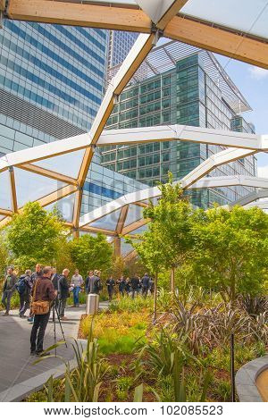 LONDON, UK - MAY 5, 2015: Canary Wharf banking and business centre, winter garden