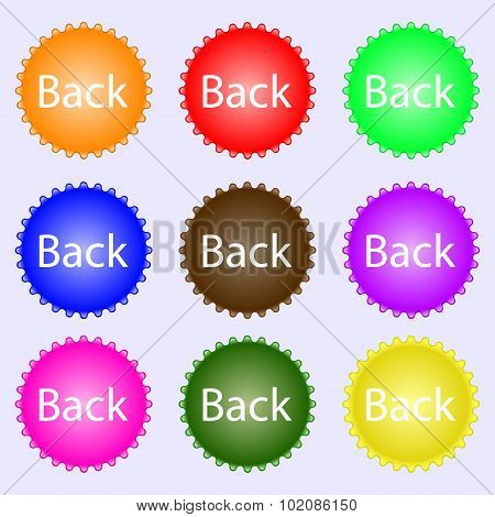 Arrow Sign Icon. Back Button. Navigation Symbol. A Set Of Nine Different Colored Labels. Vector