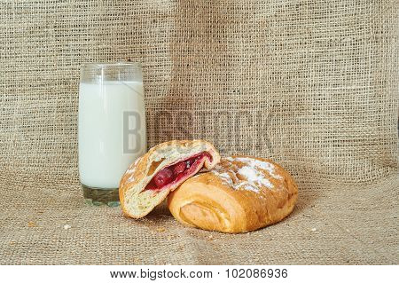 A Glass Of Milk And Puff Pastry