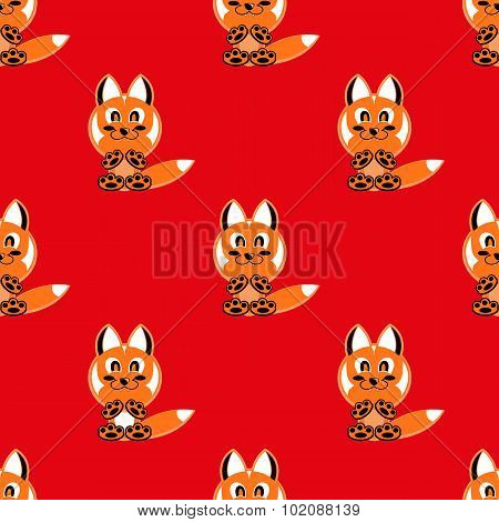 Seamless Vector Background Funny Animals Symbol Fox