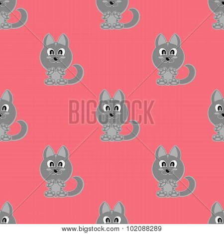 Seamless Vector Background Funny Animals Symbol Wolf