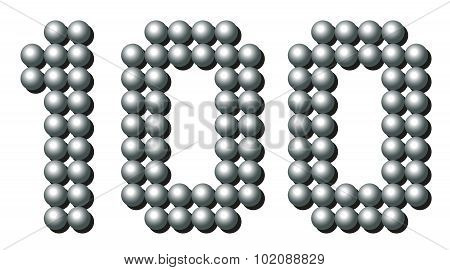 Hundred Balls Number Iron Metallic Gray