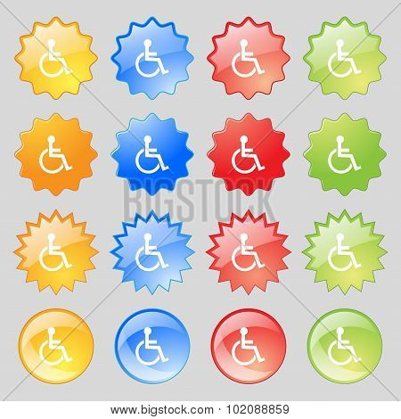 Disabled Sign Icon. Human On Wheelchair Symbol. Handicapped Invalid Sign. Big Set Of 16 Colorful Mod
