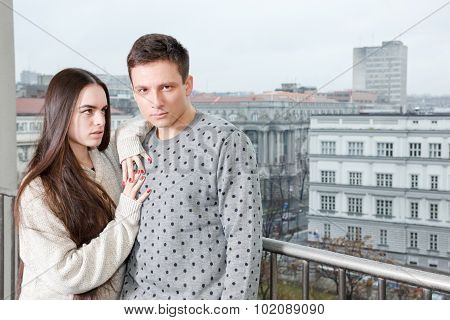 Fancy Female And Male, Lovers On Terrace. Fashion Lifestyle Photo.