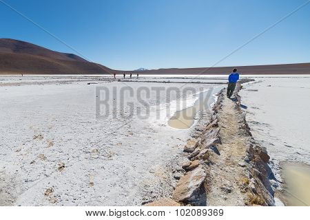 White Salt Basin On The Bolivian Andes