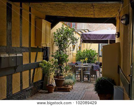 Typical Side Street Cafe Coffee Shop Copenhagen. Denmark