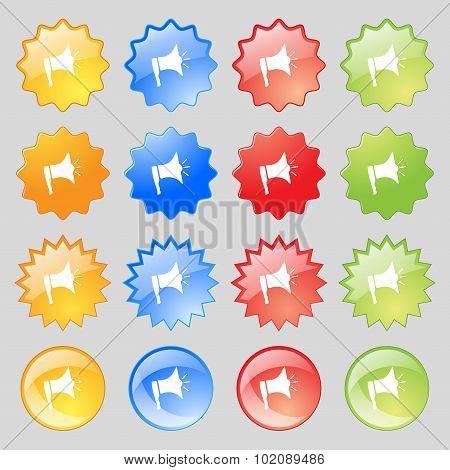 Megaphone Soon Icon. Loudspeaker Symbol. Big Set Of 16 Colorful Modern Buttons For Your Design. Vect