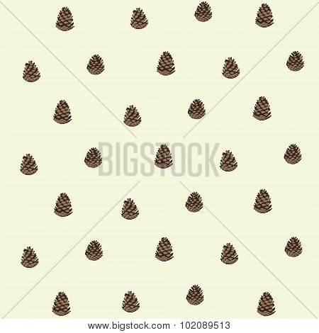 Pattern of pinecones. Endless pattern.