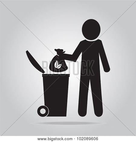 Man With Garbage Bag Symbol Illustration