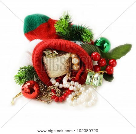 Christmas presents christmas sock with precious gifts (pearl, diamond rings, gold)