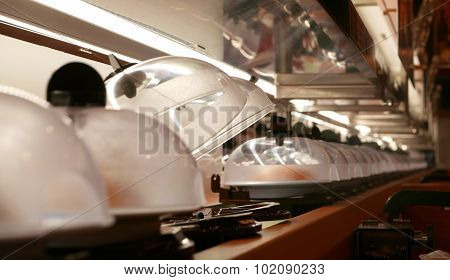 Sushi and sashimi conveyer in Japanese restaurant