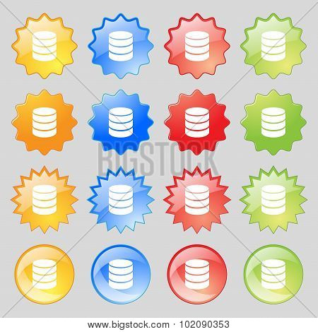 Hard Disk And Database Sign Icon. Flash Drive Stick Symbol. Big Set Of 16 Colorful Modern Buttons Fo