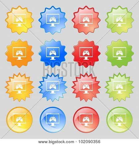 Joystick And Monitor Sign Icon. Video Game Symbol. Big Set Of 16 Colorful Modern Buttons For Your De