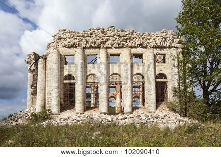 Ruins of the Trinity Church on Fifth Mountain. Volosovsky district. Leningrad region. Russia.