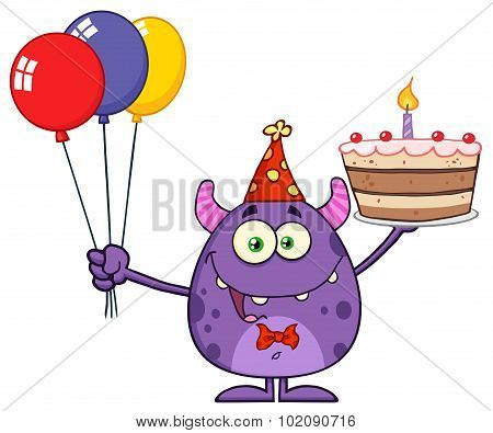 Monster Holding Up A Colorful Balloons And Birthday Cake