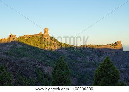 Gran Canaria, Caldera De Tejeda, Sunrise Over Roque Nublo  Mountain Range