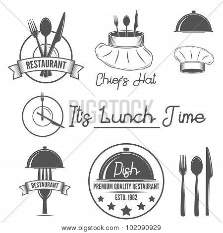 Set of badges and labels elements for restaurant or eatery