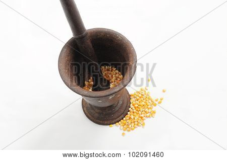 Grinding Corn With Vintage Pestle