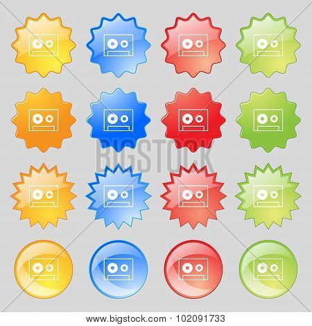 Cassette Sign Icon. Audiocassette Symbol. Big Set Of 16 Colorful Modern Buttons For Your Design. Vec