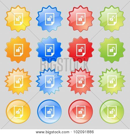 File Unlocked Icon Sign. Big Set Of 16 Colorful Modern Buttons For Your Design. Vector
