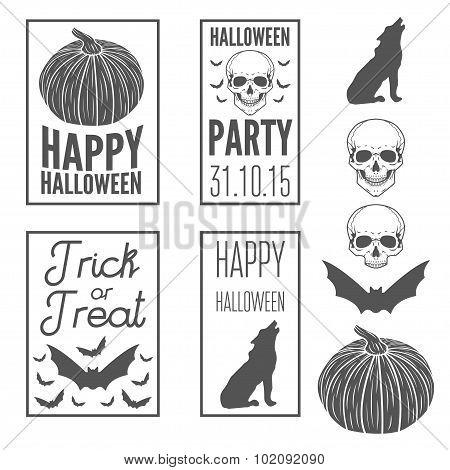 Set of vintage templates label, badge, emblem or elements for halloween party
