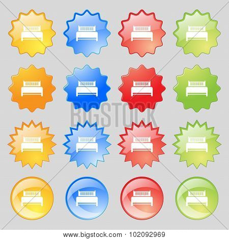 Hotel, Bed Icon Sign. Big Set Of 16 Colorful Modern Buttons For Your Design. Vector